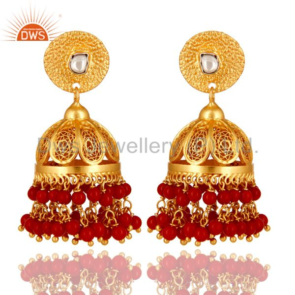 Coral Gemstone Event Wear Chandelier Earrings Made 14K Gold Over Sterling Silver
