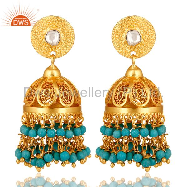 22K Yellow Gold Plated Sterling Silver Crystal Polki & Turquoise Jhumka Earrings