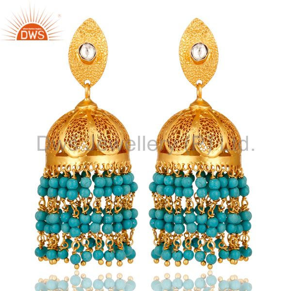 22K Yellow Gold Plated Sterling Silver CZ Polki And Turquoise Jhumka Earrings