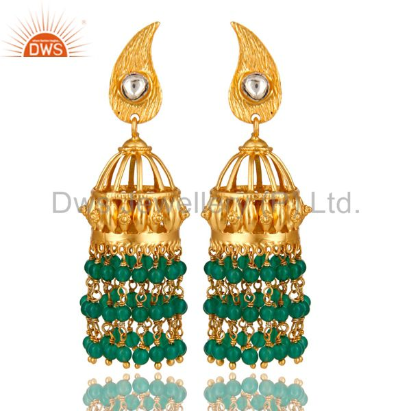 18K Yellow Gold Plated Sterling Silver Green Onyx Beads Jhumka Earrings With CZ