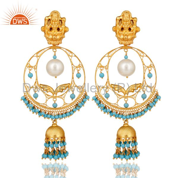 Pearl & Turquoise 14K Gold Plated Sterling Silver Temple Jewelry Jhumka Earring