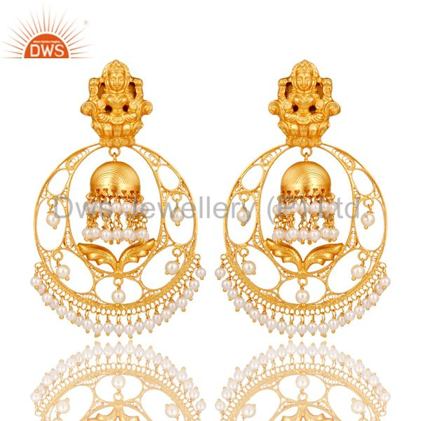 Traditional Bali Earrings 18k Gold Plated With Sterlinig Silver And Pearl