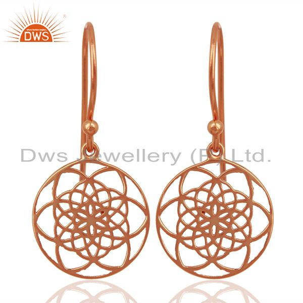 Flower of life Filigree 92.5 Sterling Silver Rose Gold Plated Dangle Earrings