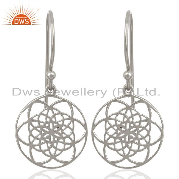 Flower of life Style 92.5 Sterling Silver White Rhodium Plated Dangle Earrings