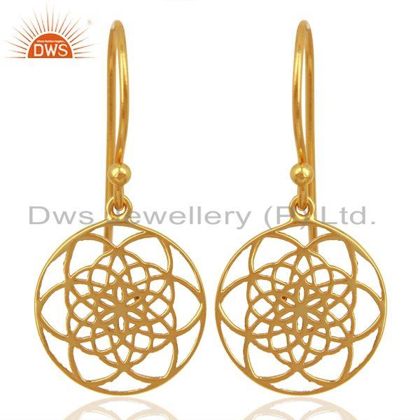 Flower of life Style 92.5 Sterling Silver 18K Gold Plated Dangle Earrings