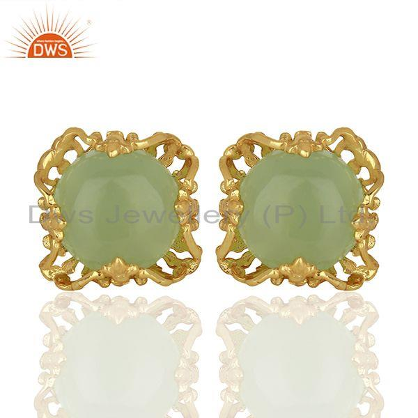 Best Selling Gold Plated 925 Silver Chalcedony Gemtone Stud Earrings