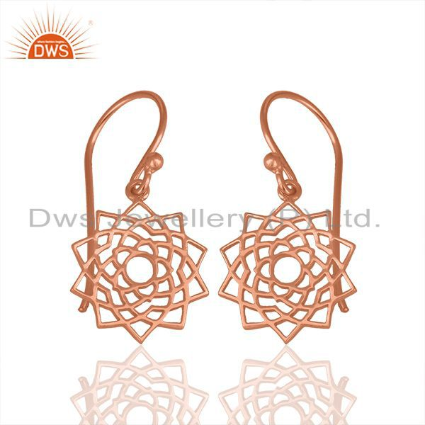 Rose Gold Plated 92.5 Sterling Silver Chakra Design Earrings Wholesale