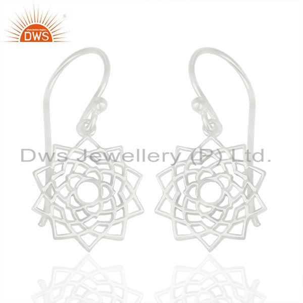 White Rhodium Plated Sterling Silver Chakra Design Drop Earring