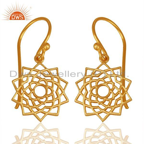Chakra Design 925 Silver Gold Plated Indian Earrings Manufacturers