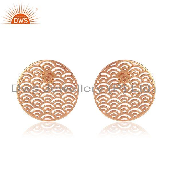 Rose Gold Plated Plain Sterling Silver Filigree Stud Earrings Supplier