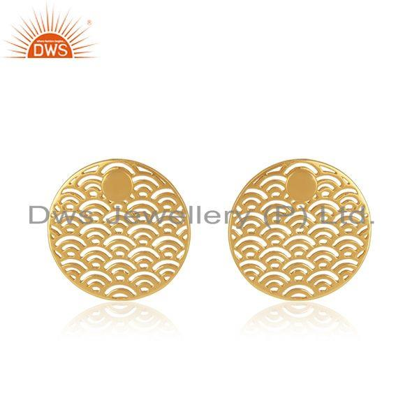 Yellow Gold Plated Sterling Silver Unique Girls Stud Earrings Jewelry