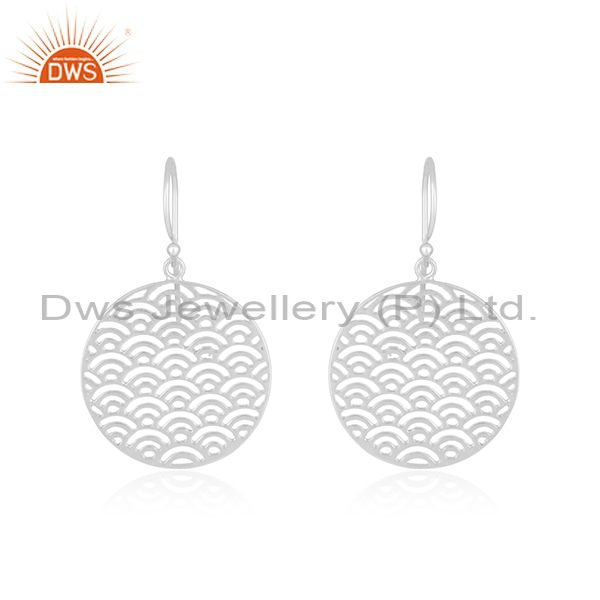 White Rhodium Plated Sterling Silver Filigree Design Earrings Supplier