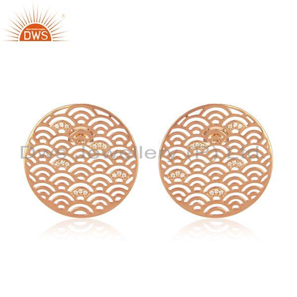 Rose Gold Plated Filigree Designer Silve Round Stud CZ Earring Jewelry