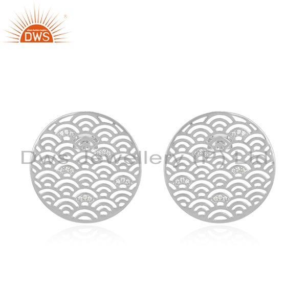 CZ White Rhodium Plated Silver Filigree Round Stud Earrings Jewelry