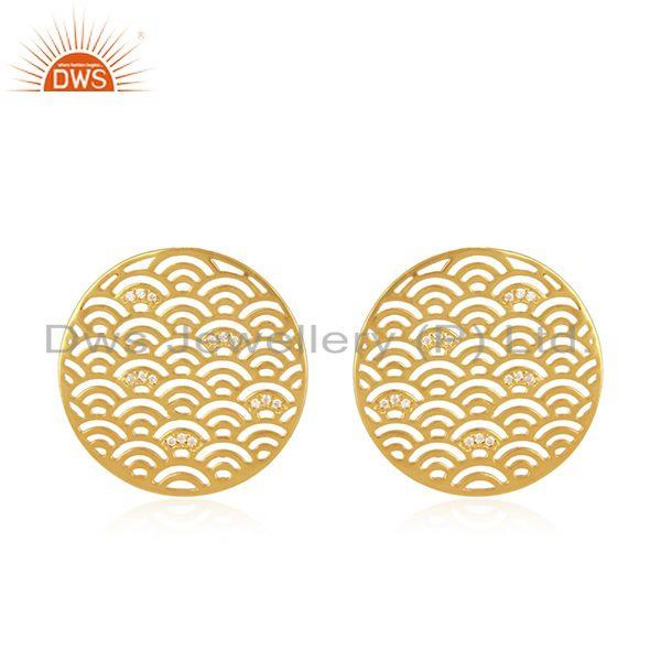 CZ Round Filigree Gold Plated Silver Designer Stud Earrings For Womens