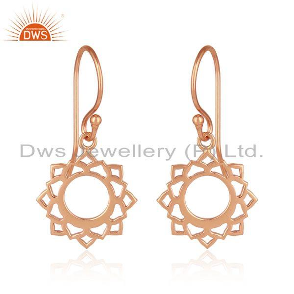 Rose Gold Plated Vishuddha Chakra Design Womens Silver Earrings