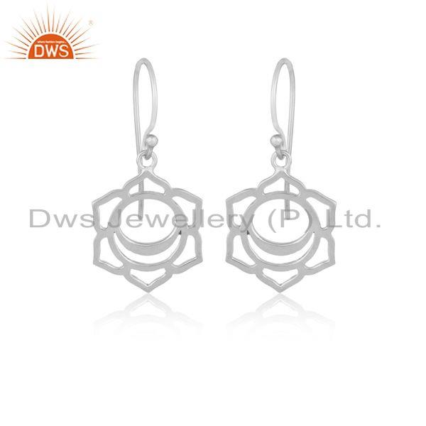 White Rhodium Plated 925 Plain Silver Svadisthana Chakra Earrings