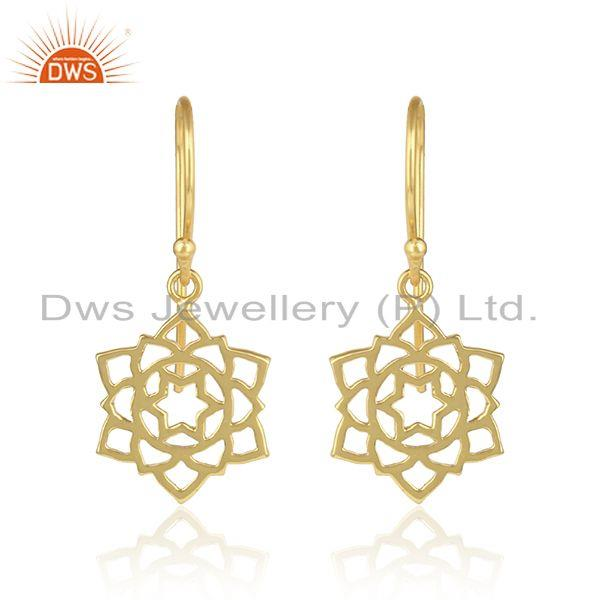 Anahata Chakra Design Yellow Gold Plated Plain Silver Earrings