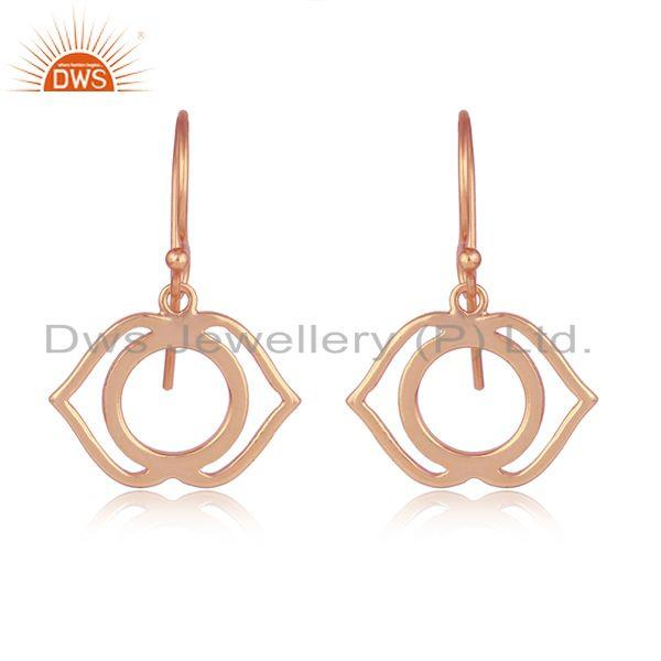 Rose Gold Plated Ajna Chakra Designer Womens Plain Silver Earring