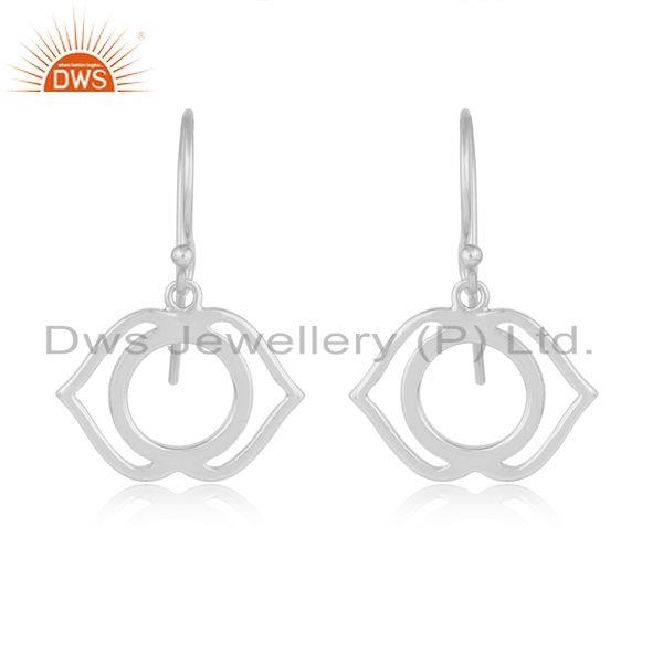 White Rhodium Plated Ajna Chakra Plain Silver Designer Earrings