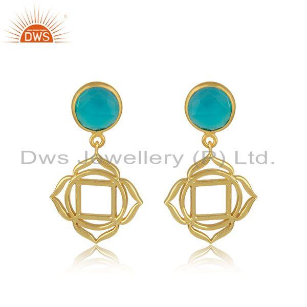 Root Chakra Earring in Yellow Gold on Silver with Aqua Chalcedony