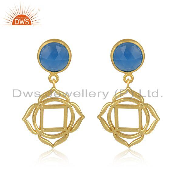 Root Chakra Earring in Yellow Gold on Silver with Blue Chalcedony
