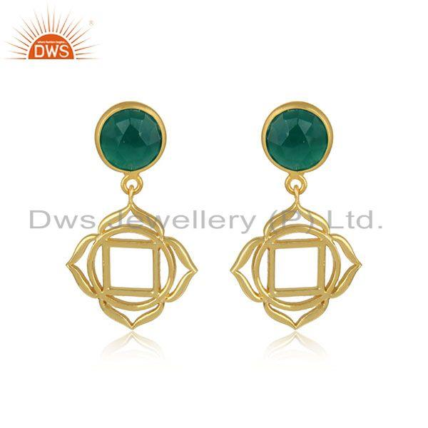 Root Chakra Earring in Yellow Gold on Silver with Green Onyx