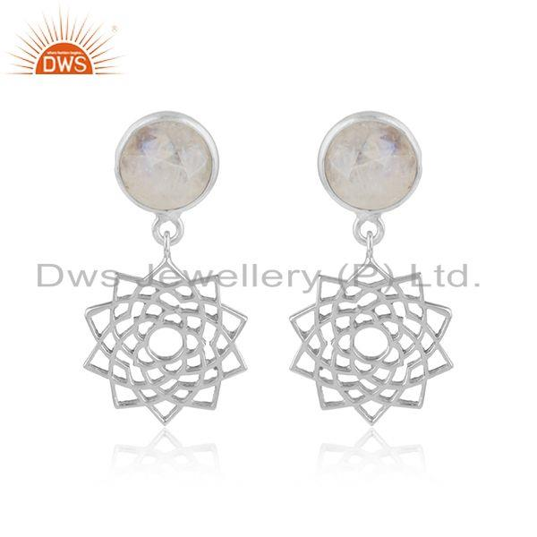 Crown Chakra Earring in Solid Silver With Rainbow Moonstone