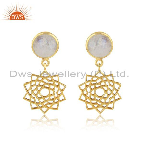 Chakra Earring in Yellow Gold On Silver 925 With Rainbow Moonstone
