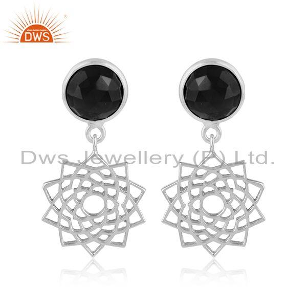 Designer crown chakra earring in solid silver with black onyx