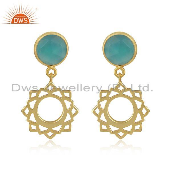 Heart Chakra Earring in Yellow Gold on Silver with Aqua Chalcedony