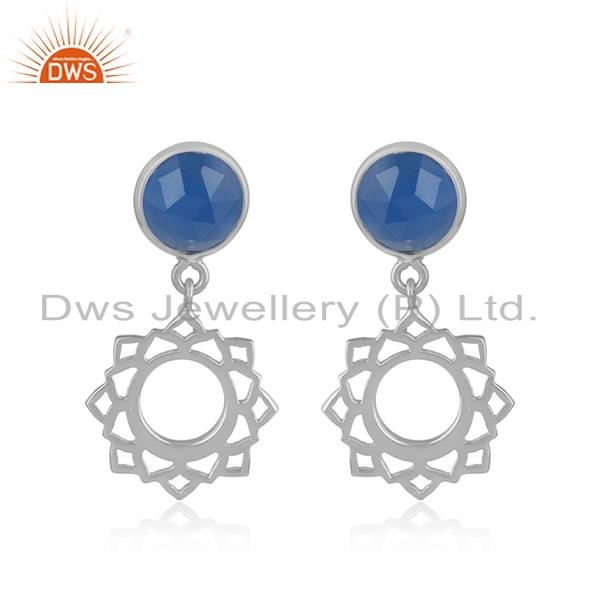 Designer heart chakra earring in silver 925 with blue chalcedony