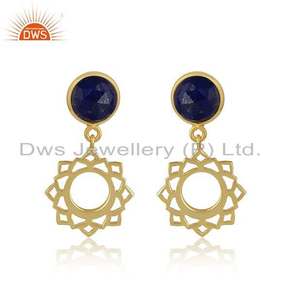 Heart chakra dangle earring in yellow gold on silver with lapis