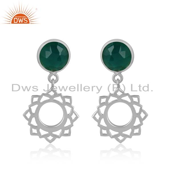 Designer heart chakra earring in silver 925 with green onyx