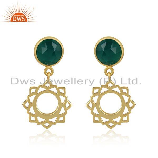 Heart chakra earring in yellow gold on silver 925 with green onyx