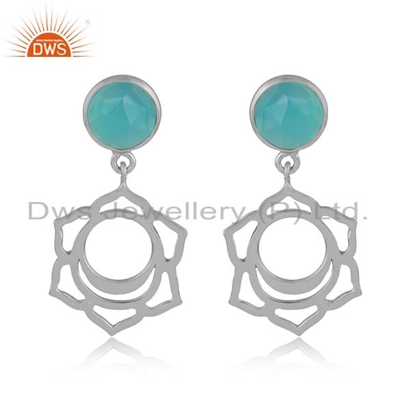 Designer sacral chakra dangle in silver 925 with aqua chalcedony