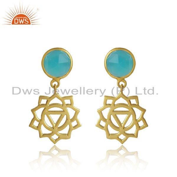 Manipura Earring in Yellow Gold on Silver with Aqua Chalcedony