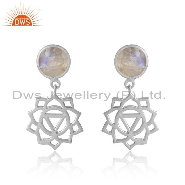 Solar Plexus Chakra Earring in Silver 925 with Rainbow Moonstone