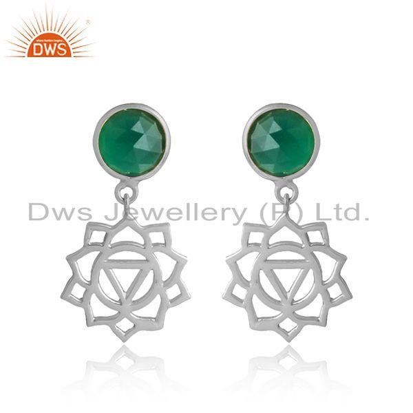 Holy Solar Plexus Chakra Earring in Silver 925 with Green Onyx