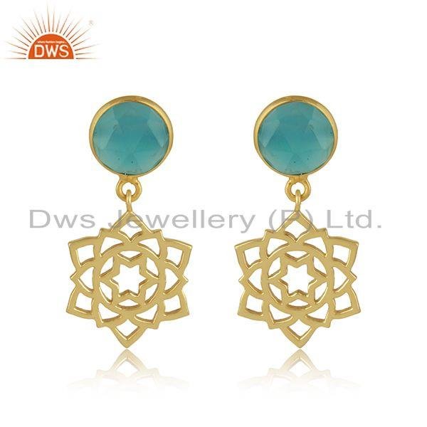 Anahata earring in yellow gold on silver 925 with aqua chalcedony