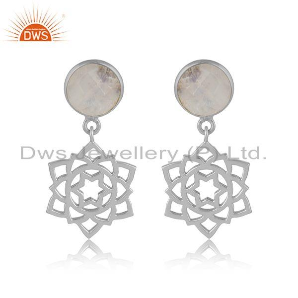 Designer anahata earring in solid silver 925 with rainbow moonstone