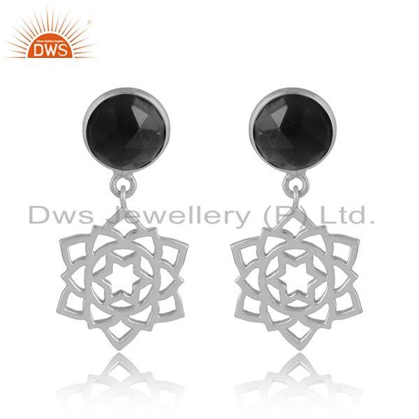 Designer anahata earring in solid silver 925 with black onyx