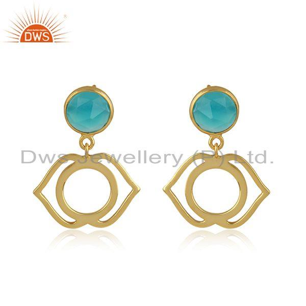 Ajna Earring in Yellow Gold on Silver 925 with Aqua Chalcedony
