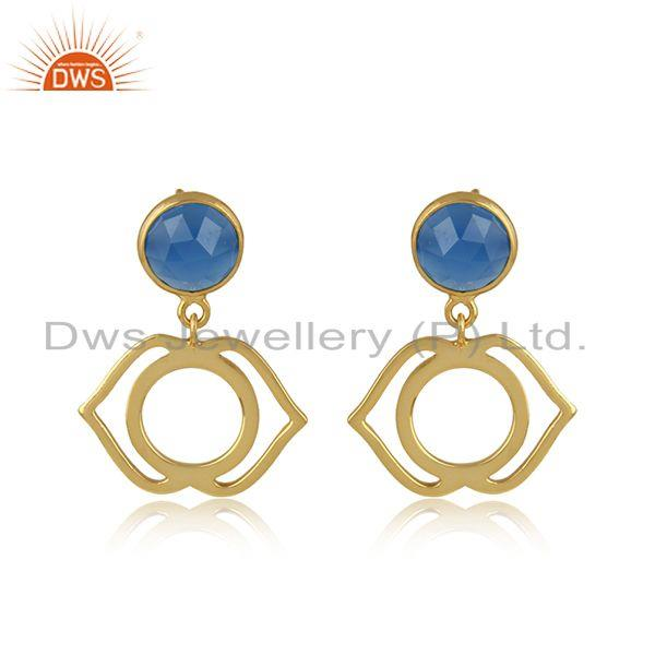 Ajna earring in yellow gold on silver 925 with blue chalcedony