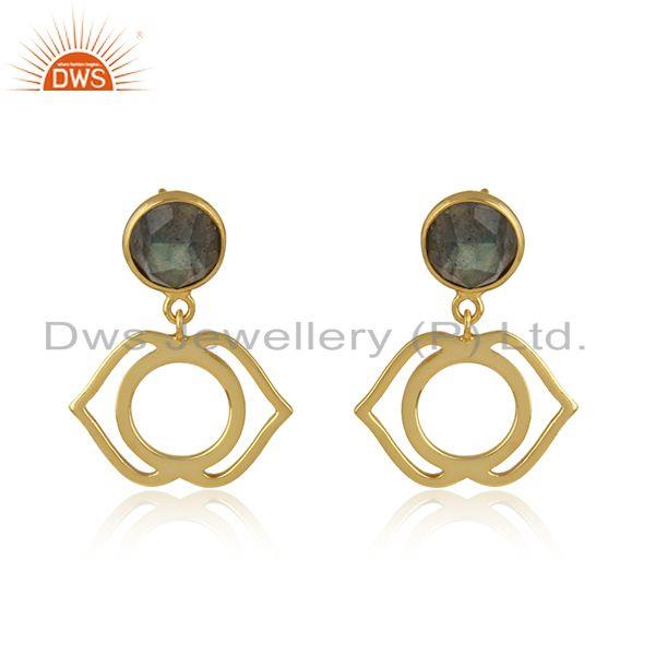 Ajna cahkra earring in yellow gold on silver 925 with labradorite