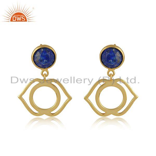 Ajna Cahkra Earring in Yellow Gold on Silver 925 with Lapis