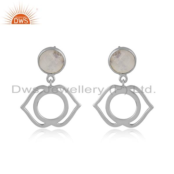 Designer ajna chakra earring in silver 925 with rainbow moonstone