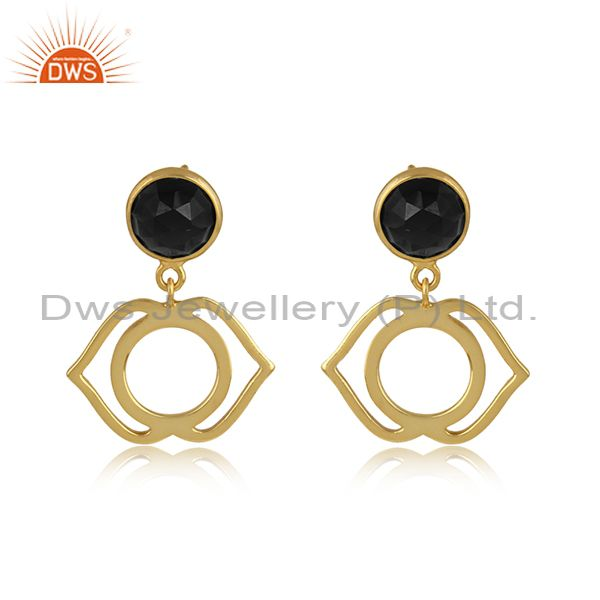 Ajna chakra earring in yellow gold on silver 925 with black onyx