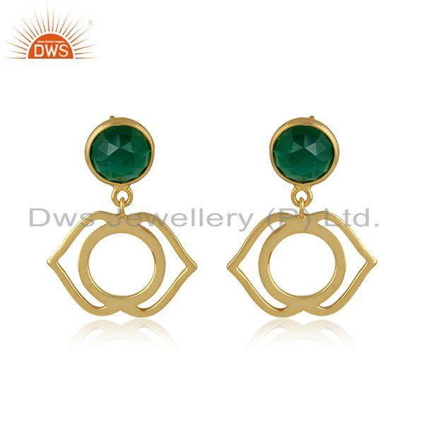 Ajna Chakra Earring in Yellow Gold on Silver 925 with Green Onyx