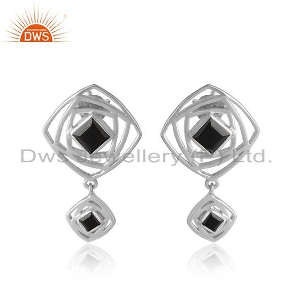 Black onyx gemstone sterling fine silver designer girls earrings